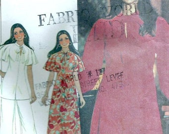 ChristmasinJuly VTG 70s McCalls 5322 Misses UNCUT Marlos Corner Maxi Dress, Tunic Top with Raglan Butterfly Sleeves, Pants Sewing Pattern Si
