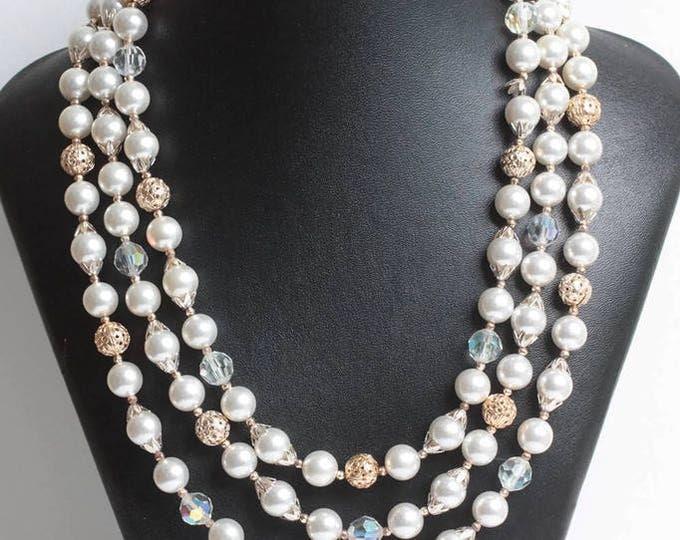 Aurora Borealis Crystal Bead Necklace Faux Pearls Japan Three Strand Necklace Wedding Necklace