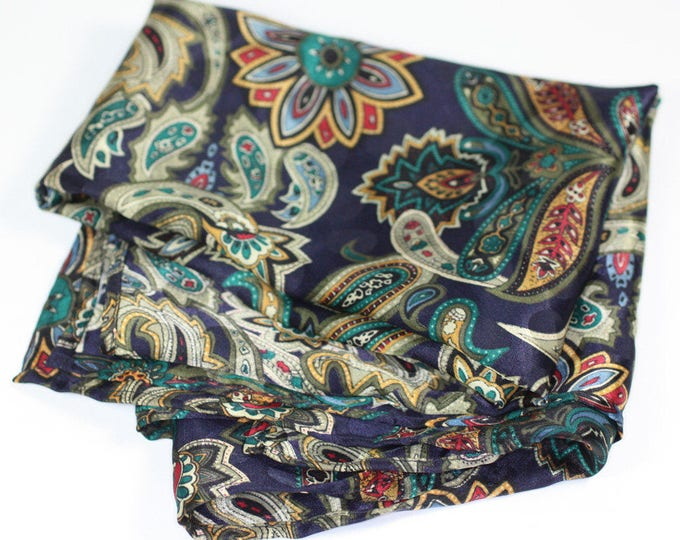 Paisley Polyester Scarf Navy Multi Color Square Vintage