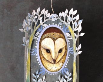 A block painting called 'The Watchful Owl' by Amanda Clark. Acrylic painting with paper cut design.