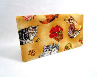 Kittens and Flowers Handmade Fabric Checkbook Cover / Washable