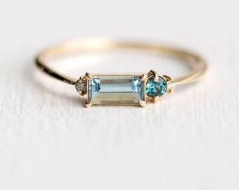Aquamarine Balcony Ring // Aquamarine, London Blue Topaz and Diamond Stacking Ring // Aquamarine Baguette Ring in Solid 14k Gold