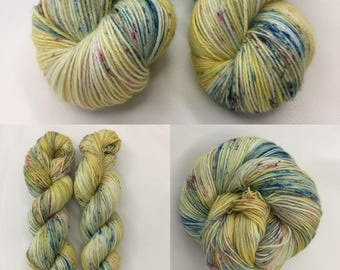 Merino Sock Wool, Hand-dyed  4 ply - Speckled Duckling