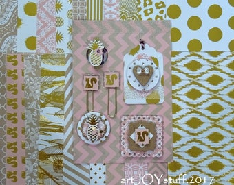 handmade paper embellishments and paper collection - for planner - for card  making - NO043