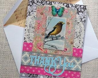 THANK YOU - original vintage bird picture - Boho chic - blank greeting card - NO056