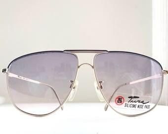 Big Designer Aviator Glasses NOS Metal Pilot Eyeglass Frame Vtg 80s Tura Sunglasses MOd Eyewear Custom Finish Ivory Off White+Plum-Burgundy