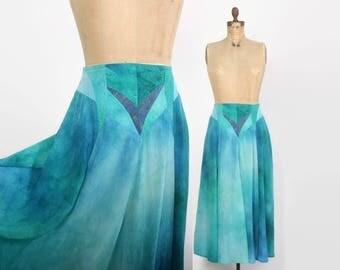 Vintage 80s Tie Dye Skirt / 1980s Full Ocean Blue Silk & Leather Hand Dyed Skirt