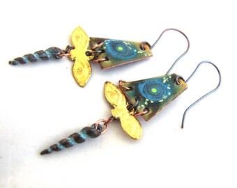 Borderland - Enamel Charm Milagro Eyes Long Dangly Boho Nuministachic Golden & Copper Blue Spiral Earrings