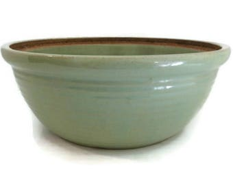 Vintage Primitive Monmouth Green Pottery Mixing Bowl