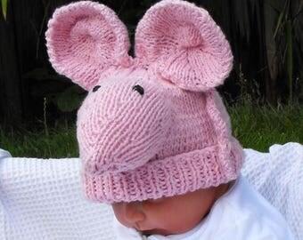 40% OFF SALE Instant Digital pdf download knitting patternBaby Big ears Sugar Mouse Beanie Hat pdf knitting pattern - madmonkeyknits