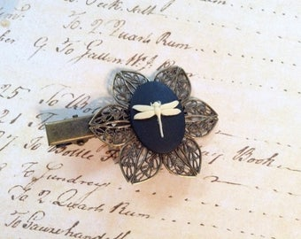 Ivory on Black Dragonfly Alligator Hair Clip
