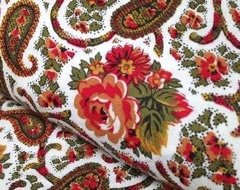 Christmas Sale Vintage Fabric 60s PAISLEY ROSE Yardage Olive, Red, White