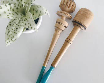 Vintage Wood Chocolate Stir Molinillo Frother, Carved Wood Wisk, Mexico Chocolate Stirer, Mexican Ornate, Turquoise Handles