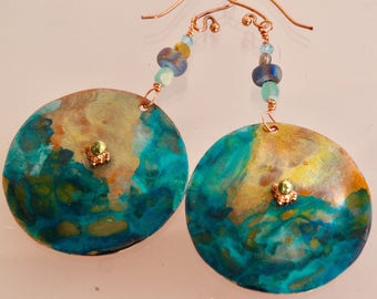 Hand Sawed Copper Disc Medallion Dangle Earrings Teal Ocean Waves Patina Statement Boho Earrings