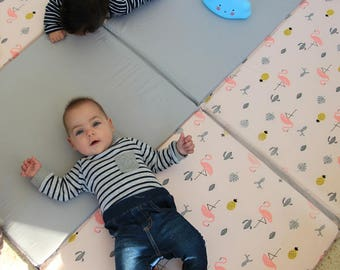 Baby Play Mat, Padded Play Mat, Padded Playmat, Folding Play Mat in gray and tropical pattern in pink
