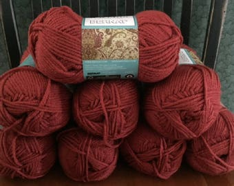 lot of 8 Bernat Waverly soft worsted category 4 yarn PORCELAIN RED 3.5 ounces 197 yards acrylic skein knitting crochet discontinued new