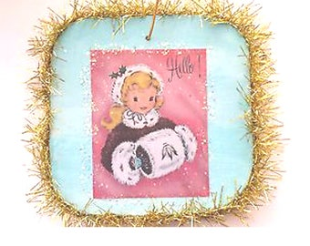 Vintage Style Cute Christmas Girl Glittered Wood Ornament