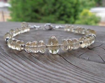 Beautiful Faceted Citrine and Sterling and Fine Silver Birthstone Gemstone Bracelet
