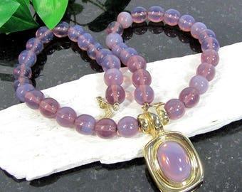 LAVENDER OPAL BEAD Necklace Designer Signed Gorgeous Opalescence