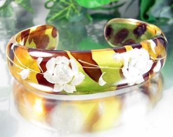 Vintage Reverse Carved Lucite Bracelet White Rose Autumn Applejuice Cuff Bangle
