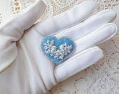 For the Bride on Her Wedding Day -- Something Blue, Little Handmade Felt, Heart Shaped Brooch / Pin, Garter Pin, Embroidered White Roses