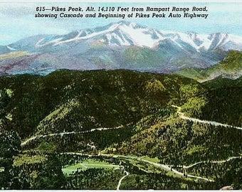 Vintage Colorado Postcard - Pikes Peak from Rampart Range Road (Unused)