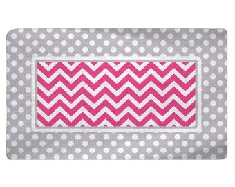 Polka Dots & Chevron Plush Fuzzy Area Rug -Your Choice Colors, Shown Grey and Bright Pink - 48x30,  60x48,  96x44, 96x60  inches