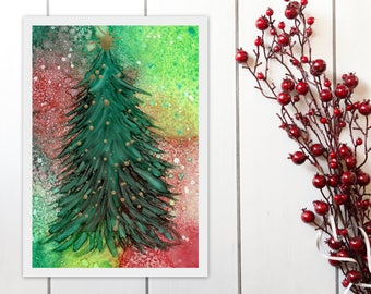 Christmas Tree Printable Art, Red and Green, Alcohol Ink Painting Print, Christmas Decor Wall Art Instant Download, A4 8x11 9x12 print