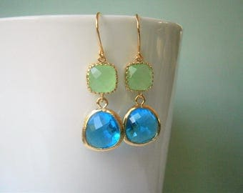 Royal Blue Earrings, Peridot Earrings, Gold Earrings, Bridesmaid Earrings, Wedding Jewelry, Mother of the Bride