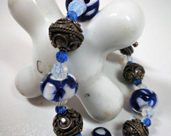 Royal blue lampwork bead bracelet / Silver clasp and accents / 8 inches long / 925 / Easter / Spring / Birthday gift