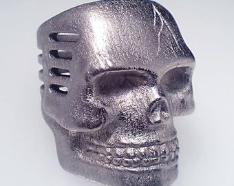 Skull Microphone Ring Nickel Steel Finish