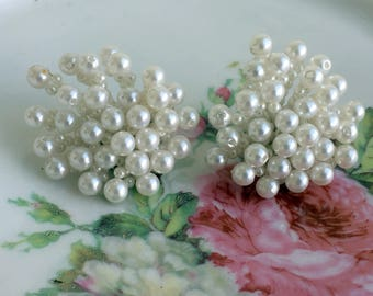 Vintge Large Cascade Beaded Pearl Cluster Statement clip earrings