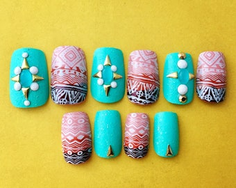 Desert Southwestern Nails | Desert Ombre Fake Nails | Turquoise False Nails  | Glue On Acrylic Nails | Summer Holiday Nails | Short Nails