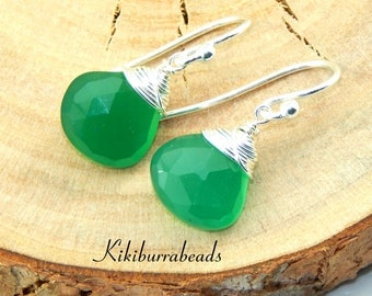 Green Chalcedony Earrings,Chalcedony Earrings,Green Gemstone Earrings,Wire Wrapped,Sterling Silver,Genuine Gemstone