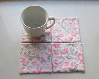 MARKED DOWN was 10 NOW 6 pink pastel silver and grey butterflies hand quilted set of mug rugs coasters