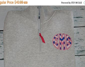 ON SALE Ladies Circle Applique Sweatshirt 1/4 zip Personalized Monogrammed Pullover