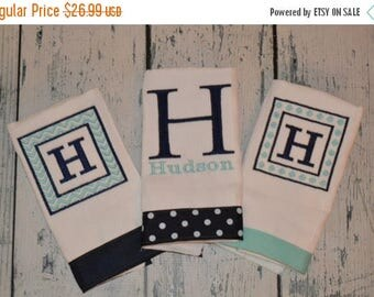 ON SALE Personalized  Burp cloth Set of 3  Burpies  Monogrammed