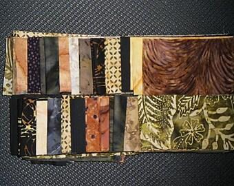 40 PC Set - EARTH Cotton Batik Jelly Roll Strips
