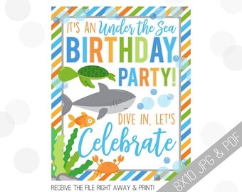 Under the Sea Party Printable Sign | Sea Welcome Sign | Fish Door Sign | Nautical Party Welcome | Turtle Party | Sea Birthday Boy