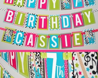 Rock and Roll Birthday Party Banner Fully Assembled | Girly Rock Party | Girl Guitar Party | Girls Rock Party | Guitar Birthday Party |