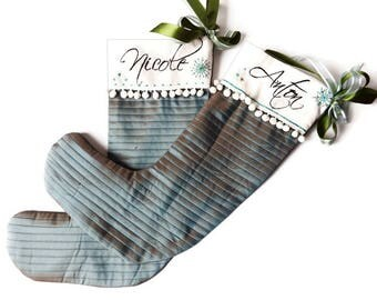 Custom  Christmas Stockings - Personalized Quilted Silver Blue  Silk  - Hand Embroidered with Snowflakes
