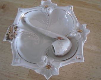 German Porcelain Pipe Ashtray