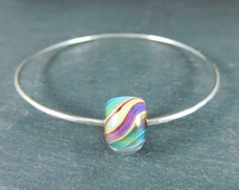 Sterling Silver Bangle Bracelet, Stacking Bracelet, Purple Green Yellow Blue Glass Bead Bracelet, Simple Hammered Silver Bracelet, Lampwork