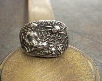 Statement Ring Athena Mythology Jewelry Arachne Spider Web