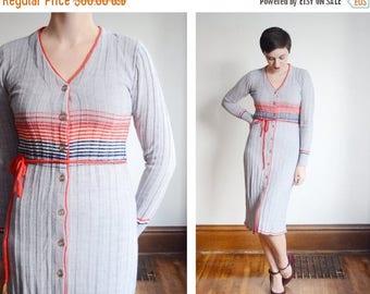 Summer Sale - 1970s Grey Striped Sweater Dress - S