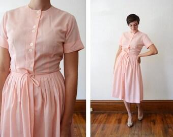 1960s Light Pink Shirtwaist Dress - S/M