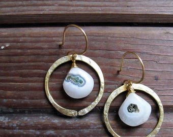 ON SALE Redwood Earrings - Turquoise or Moss Agate Earrings - Moss Agate Earrings - Turquoise Earrings - Rustic Circle Earrings