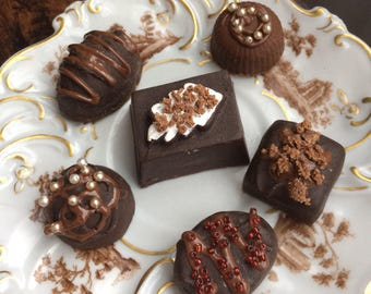 Fake Resin Chocolates 6 Assorted Fancy Staging Decor Photo Prop