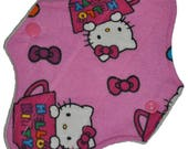 Liner Hemp Core- Teacup Kitty Flannel Reusable Cloth Mini Pad- WindPro Fleece- 7.5 Inches (19 cm)