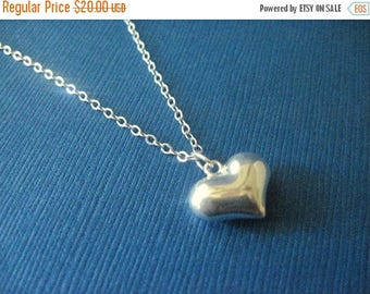 ON SALE Sterling Silver Puffy Heart Necklace